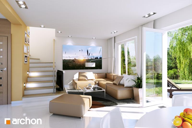Проект дома ARCHON+ Дом в винограде (Г) дневная зона (визуализация 1 вид 1)