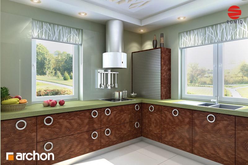 Проект дома ARCHON+ Дом под красной рябиной вер.2 визуализация кухни 2 вид 1