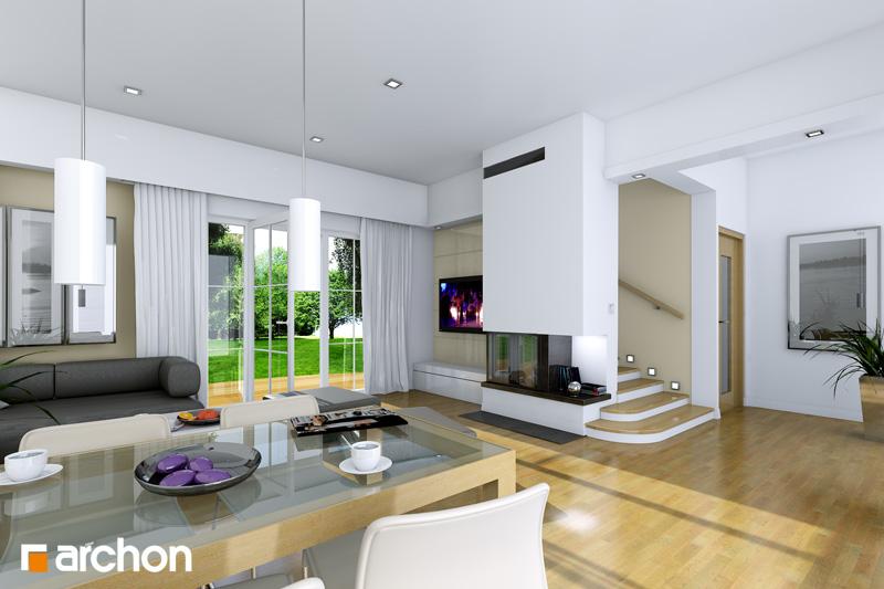 Проект дома ARCHON+ Дом в люцерне дневная зона (визуализация 1 вид 1)