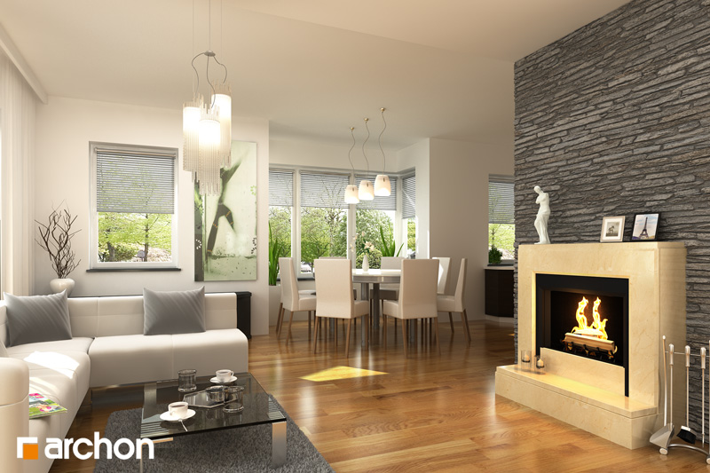 Проект будинку ARCHON+ Будинок у вербені 2 (Г2) денна зона (візуалізація 1 від 1)