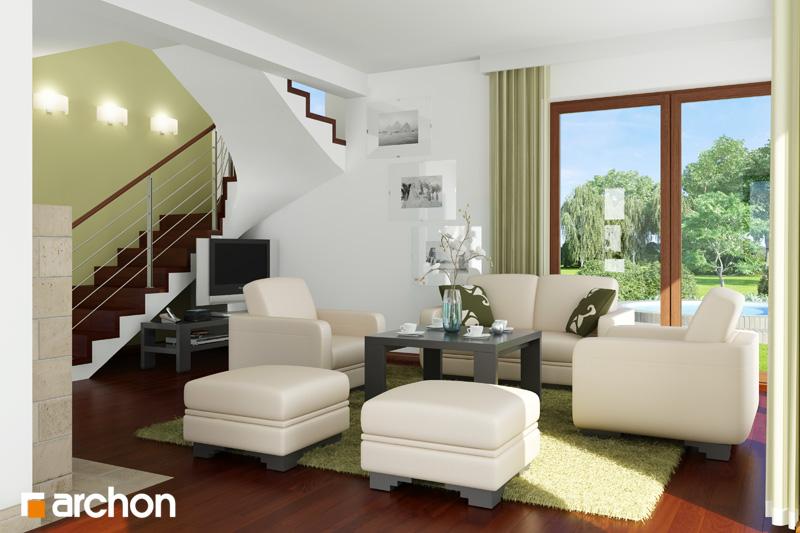 Проект дома ARCHON+ Дом в амариллисах дневная зона (визуализация 1 вид 2)