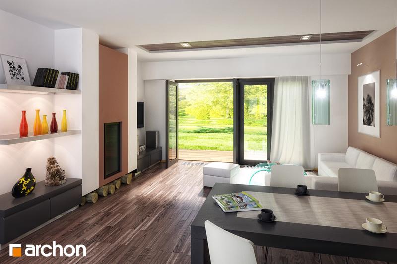 Проект будинку ARCHON+ Будинок в акебіях денна зона (візуалізація 1 від 1)