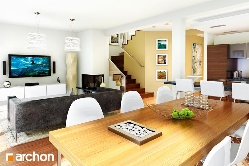 Проект дома ARCHON+ Вилла Юлия дневная зона (визуализация 1 вид 1)