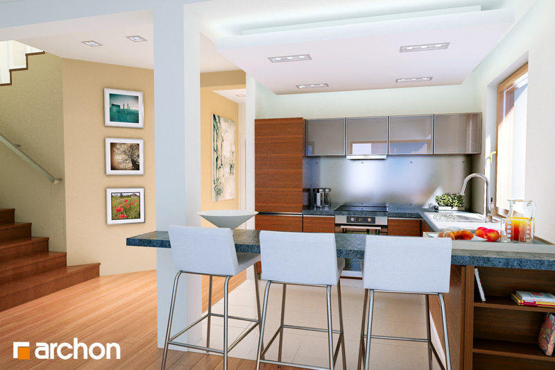 Проект дома ARCHON+ Вилла Юлия дневная зона (визуализация 1 вид 2)