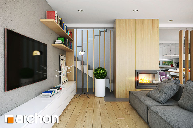 Проект будинку ARCHON+ Будинок в морінгах денна зона (візуалізація 1 від 4)