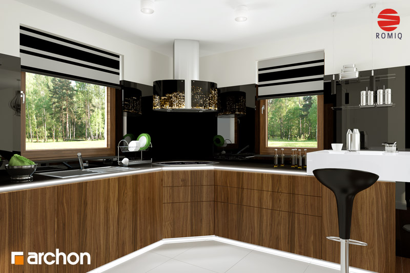 Проект будинку ARCHON+ Будинок в рододендронах 6 (Г2Н) візуалізація кухні 2 від 3