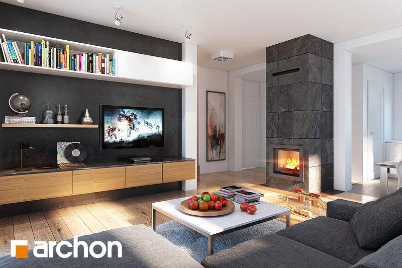 Проект дома ARCHON+ Дом в рододендронах 4 (H) дневная зона (визуализация 1 вид 1)