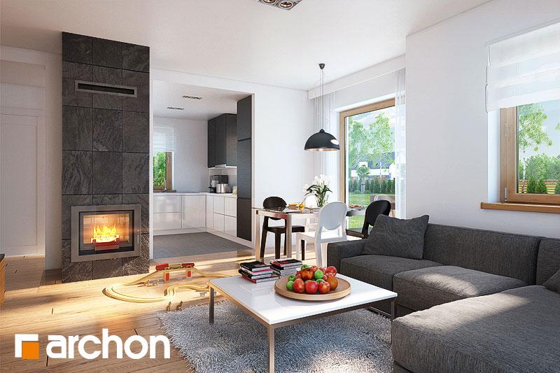 Проект дома ARCHON+ Дом в рододендронах 4 (H) дневная зона (визуализация 1 вид 2)