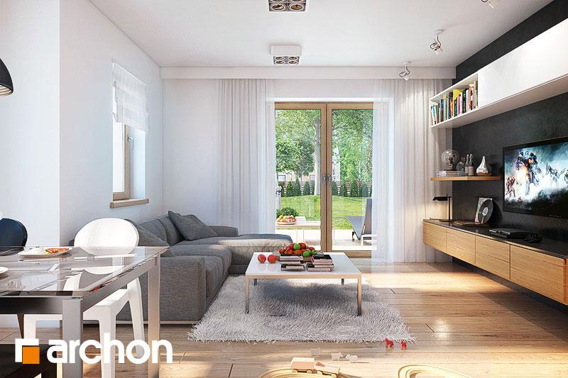 Проект дома ARCHON+ Дом в рододендронах 4 (H) дневная зона (визуализация 1 вид 3)
