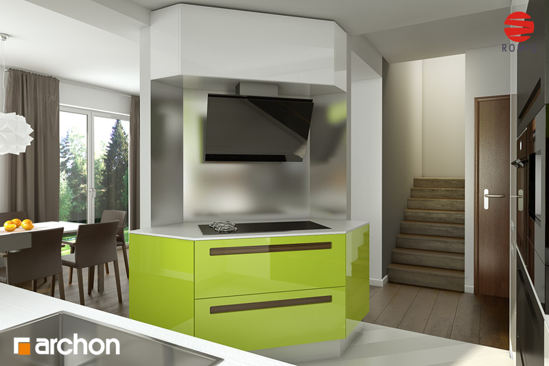 Проект дома ARCHON+ Дом в вистерии аранжировка кухни 2 вид 2