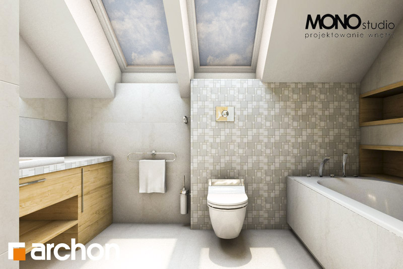 Проект дома ARCHON+ Дом в вистерии визуализация ванной (визуализация 1 вид 3)