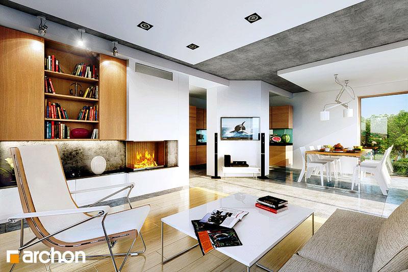 Проект дома ARCHON+ Дом в вистерии дневная зона (визуализация 1 вид 1)