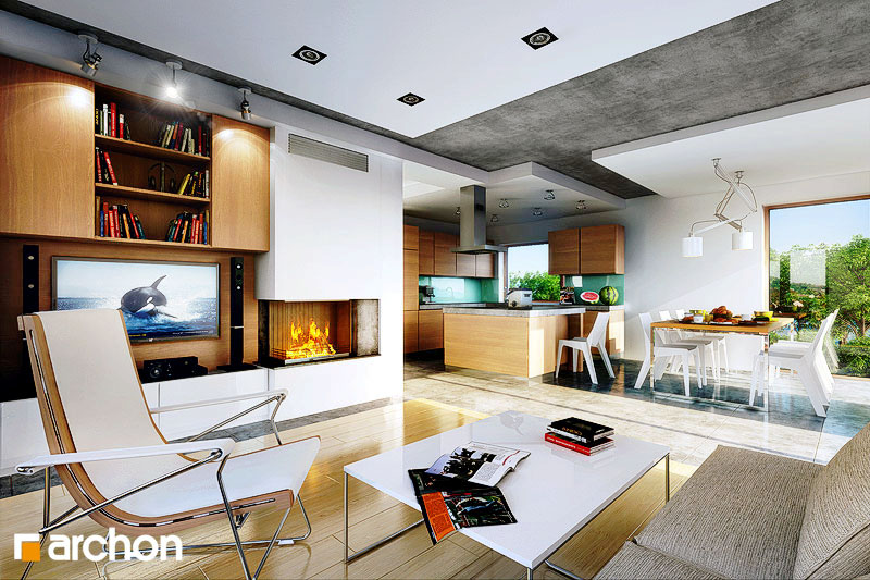 Проект дома ARCHON+ Дом в вистерии дневная зона (визуализация 1 вид 2)