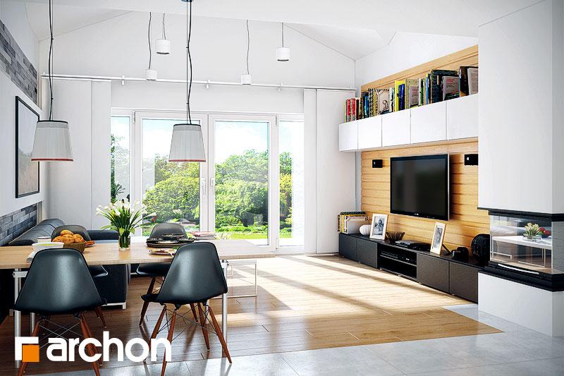 Проект дома ARCHON+ Дом в неринах дневная зона (визуализация 1 вид 1)