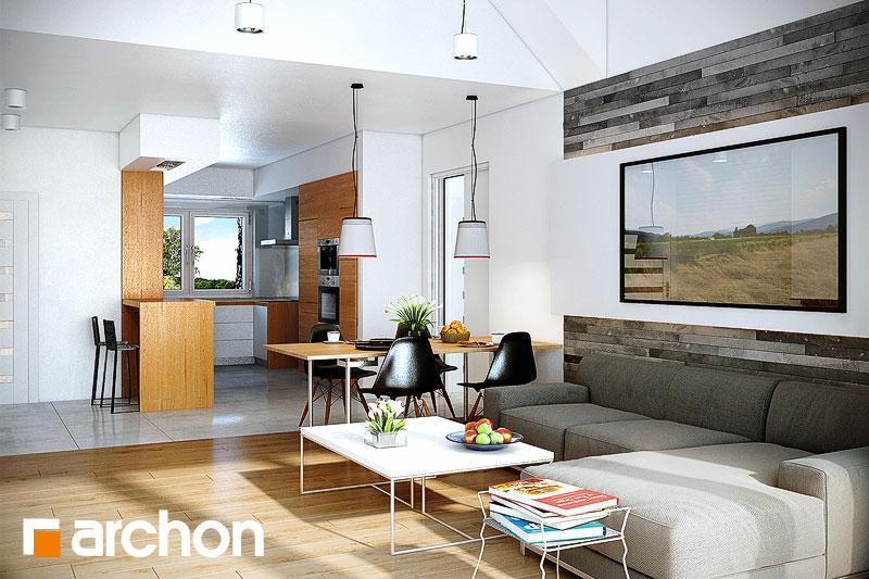 Проект дома ARCHON+ Дом в неринах дневная зона (визуализация 1 вид 2)