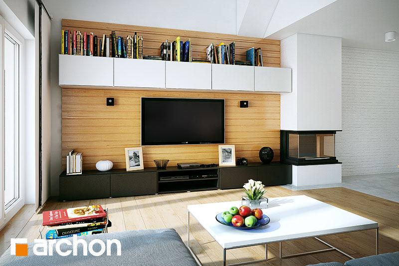 Проект дома ARCHON+ Дом в неринах дневная зона (визуализация 1 вид 3)