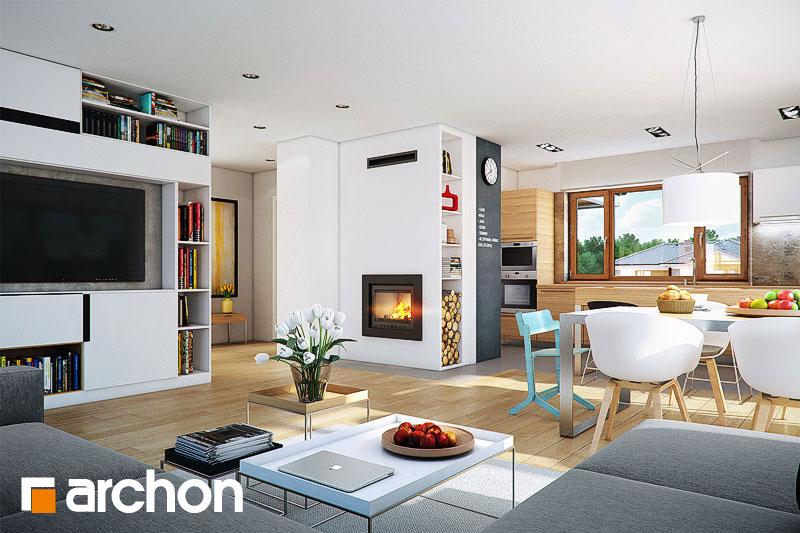 Проект дома ARCHON+ Дом в бадане 2 дневная зона (визуализация 1 вид 1)
