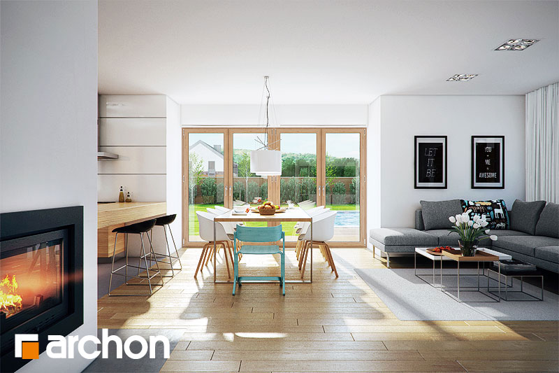 Проект дома ARCHON+ Дом в бадане 2 дневная зона (визуализация 1 вид 2)
