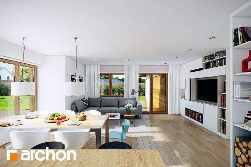 Проект дома ARCHON+ Дом в бадане 2 дневная зона (визуализация 1 вид 3)