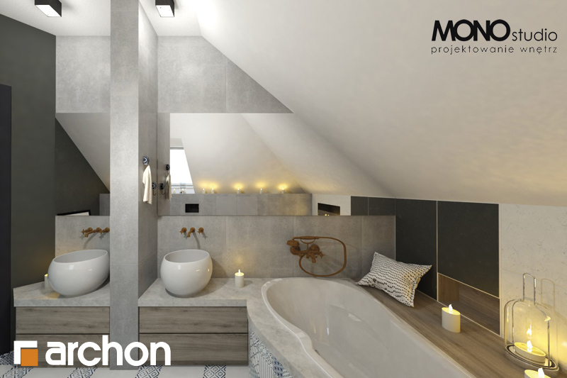 Проект будинку ARCHON+ Будинок в руколі 2 візуалізація ванни (візуалізація 1 від 3)