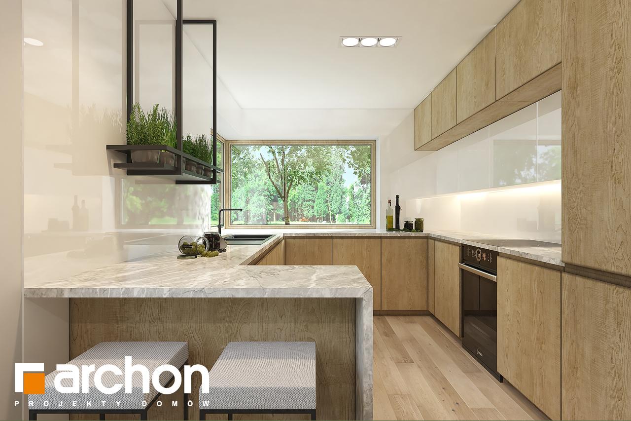 Проект дома ARCHON+ Дом в рододендронах 11 (H) визуализация кухни 1 вид 1