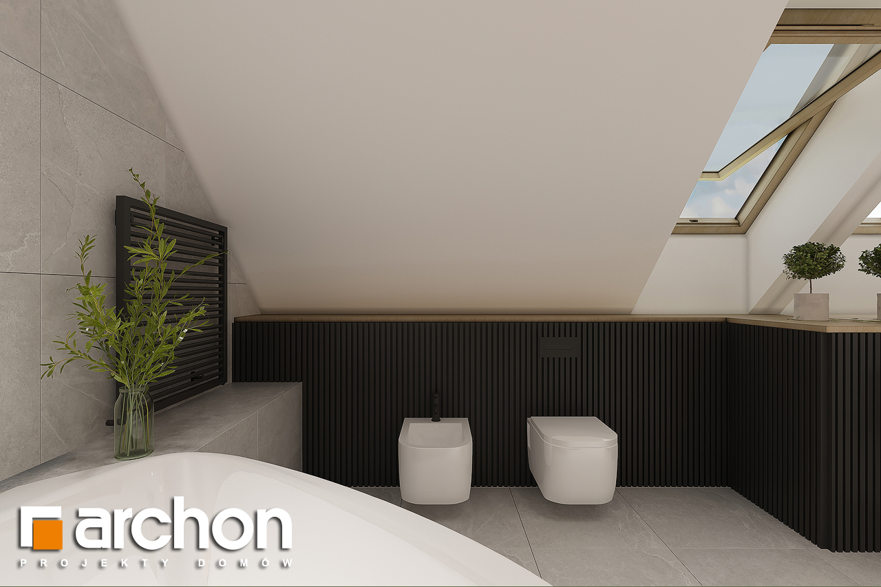 Проект будинку ARCHON+ Будинок в рододендронах 11 (H) візуалізація ванни (візуалізація 3 від 4)
