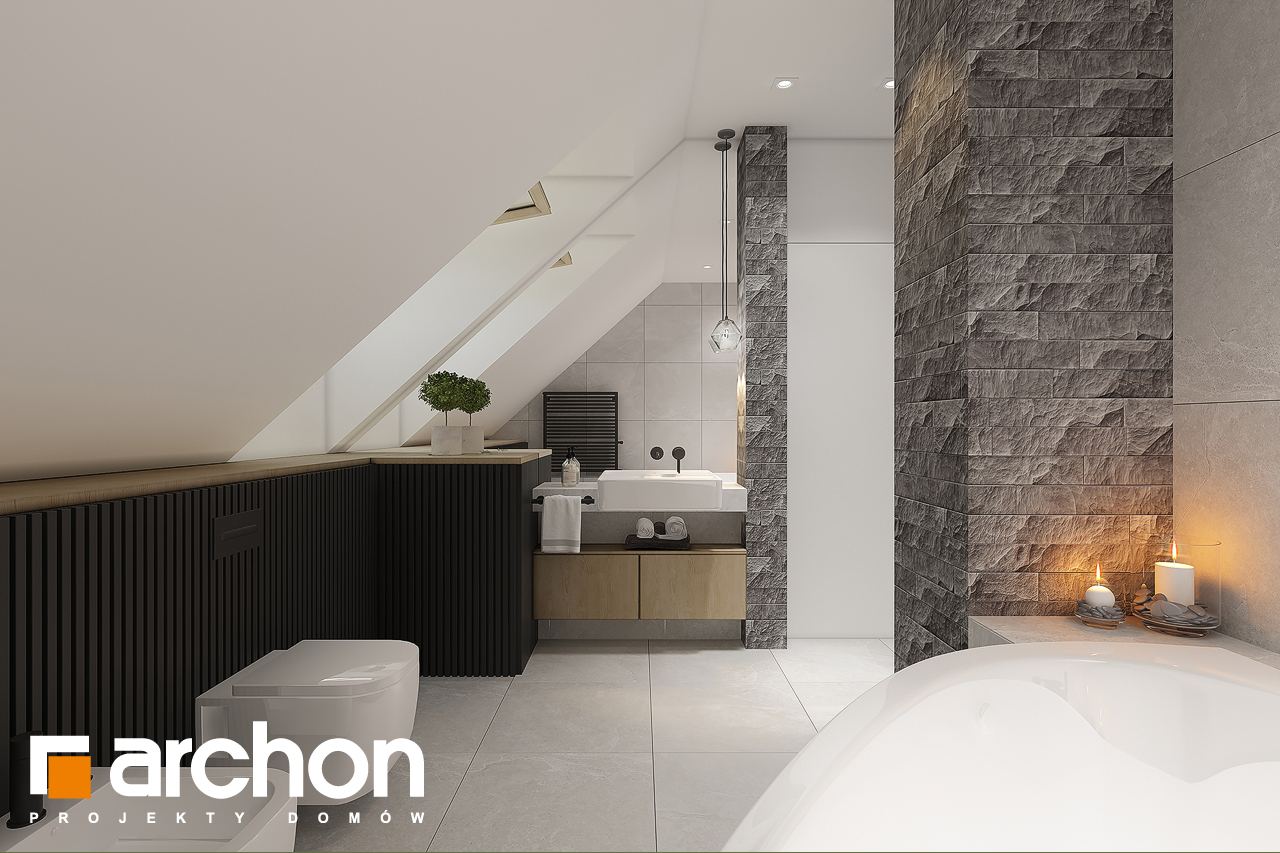 Проект дома ARCHON+ Дом в рододендронах 11 (H) визуализация ванной (визуализация 3 вид 1)
