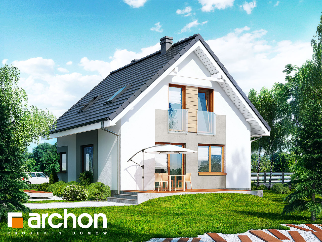 Проект дома ARCHON+ Дом в рододендронах 11 (H) Вид 2