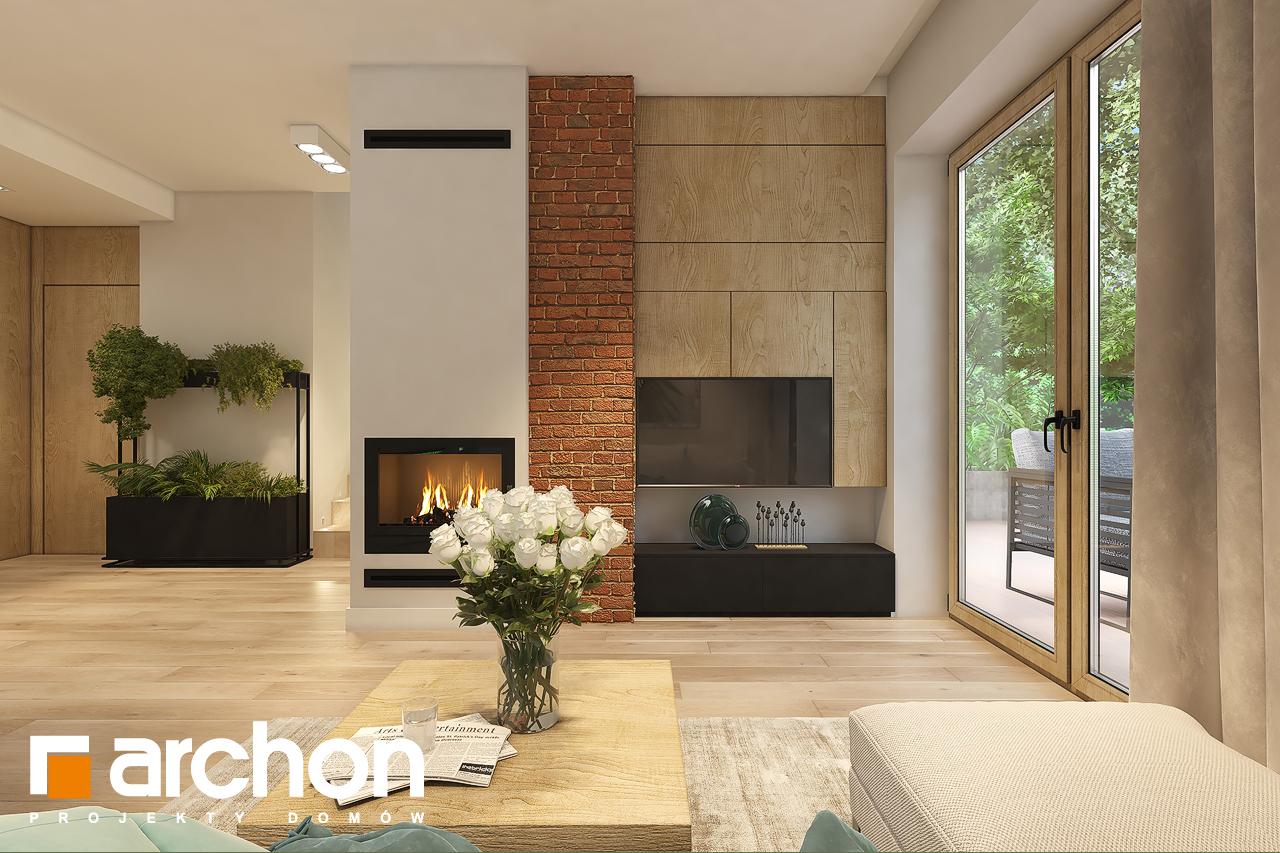 Проект дома ARCHON+ Дом в рододендронах 11 (H) дневная зона (визуализация 1 вид 1)