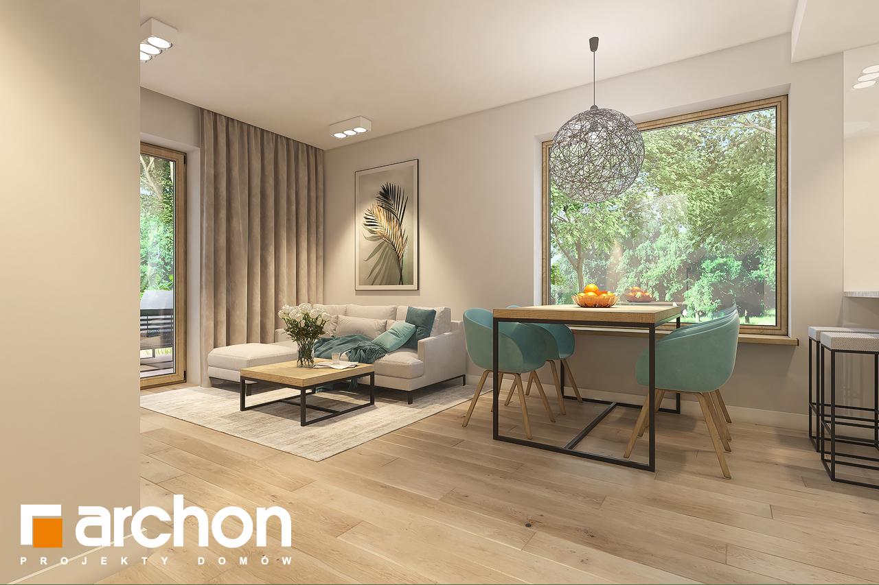 Проект дома ARCHON+ Дом в рододендронах 11 (H) дневная зона (визуализация 1 вид 2)