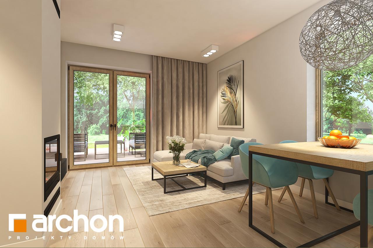 Проект дома ARCHON+ Дом в рододендронах 11 (H) дневная зона (визуализация 1 вид 4)