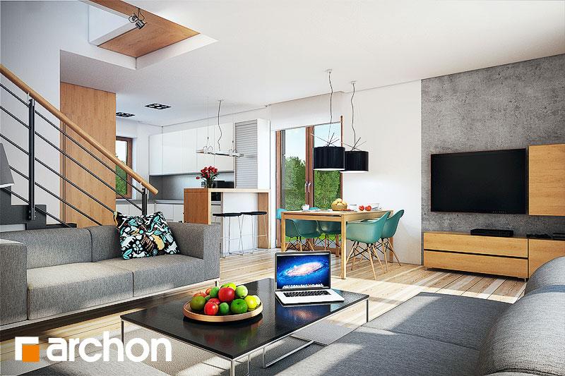 Проект будинку ARCHON+ Будинок в красивоягідниках денна зона (візуалізація 1 від 2)