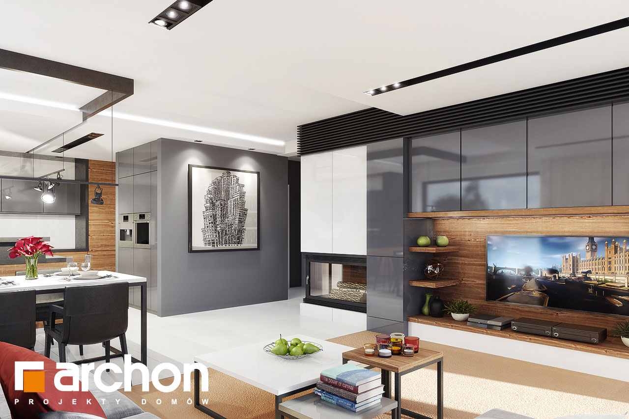 Проект будинку ARCHON+ Будинок під червоною горобиною 8 (H) денна зона (візуалізація 1 від 1)