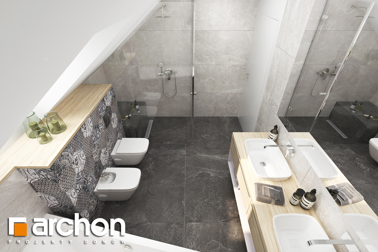 Проект будинку ARCHON+ Будинок в смарагдах 4 (Г) візуалізація ванни (візуалізація 3 від 4)