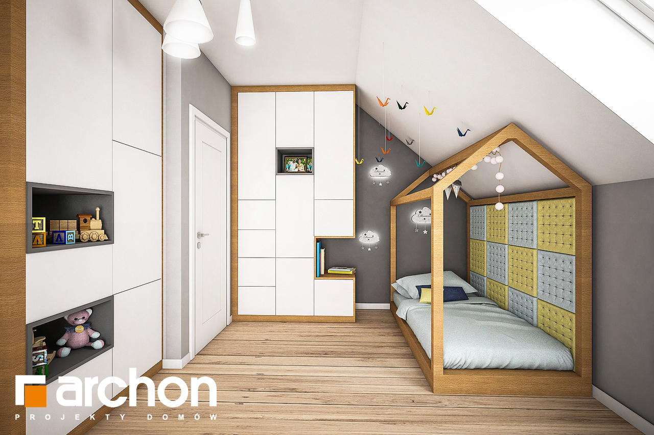 Проект будинку ARCHON+ Будинок в яблонках нічна зона (візуалізація 2 від 1)