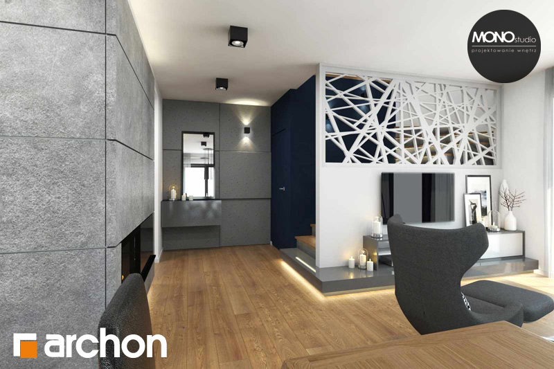 Проект будинку ARCHON+ Будинок в яблонках денна зона (візуалізація 2 від 1)