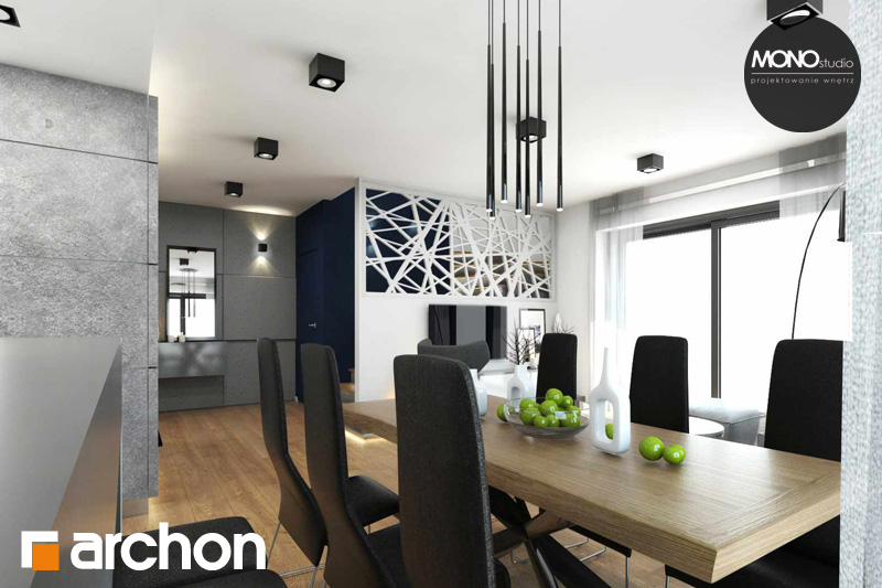 Проект будинку ARCHON+ Будинок в яблонках денна зона (візуалізація 2 від 6)