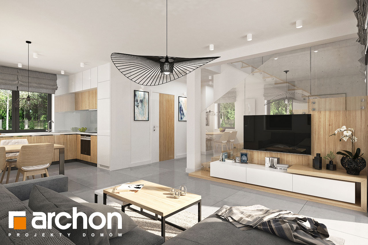 Проект будинку ARCHON+ Будинок в хлорофітумі (Г) денна зона (візуалізація 1 від 3)