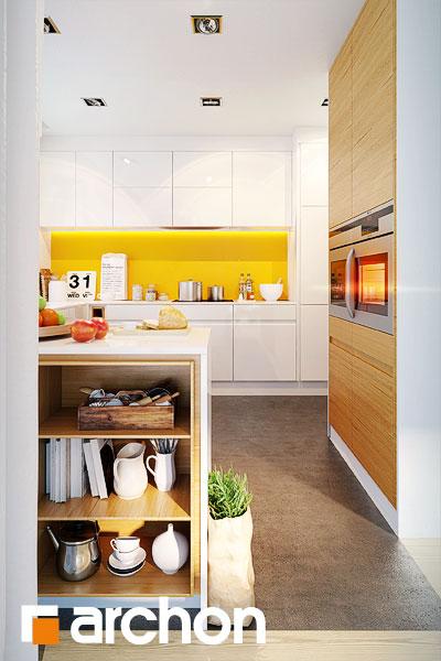 Проект дома ARCHON+ Дом в бугенвиллеях визуализация кухни 1 вид 1