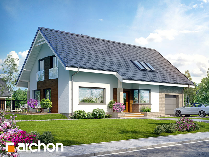 Проект дома ARCHON+ Дом в бугенвиллеях Вид 1