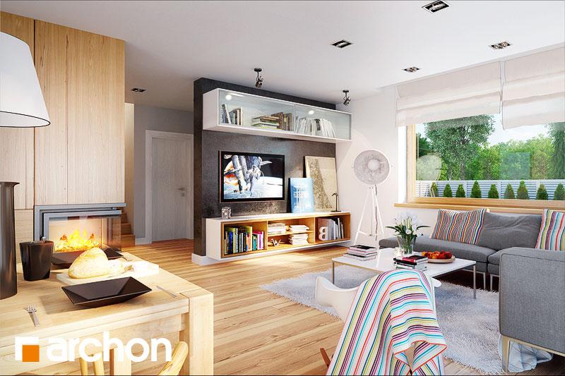 Проект будинку ARCHON+ Будинок в бугенвіліях  денна зона (візуалізація 1 від 3)