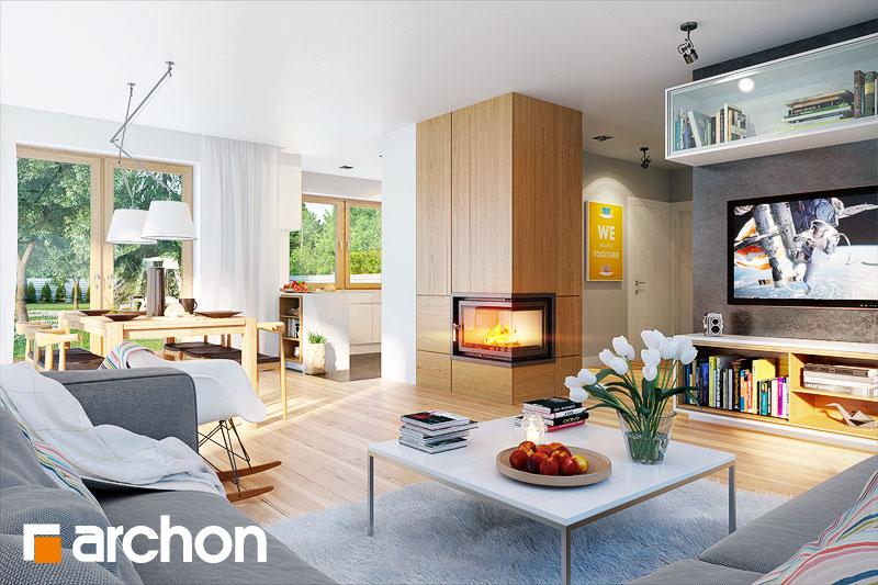 Проект дома ARCHON+ Дом в бугенвиллеях дневная зона (визуализация 1 вид 1)
