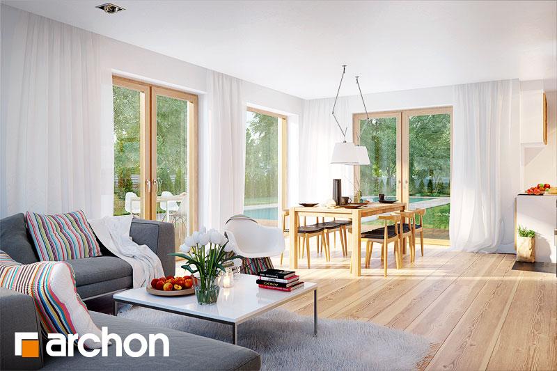 Проект дома ARCHON+ Дом в бугенвиллеях дневная зона (визуализация 1 вид 2)