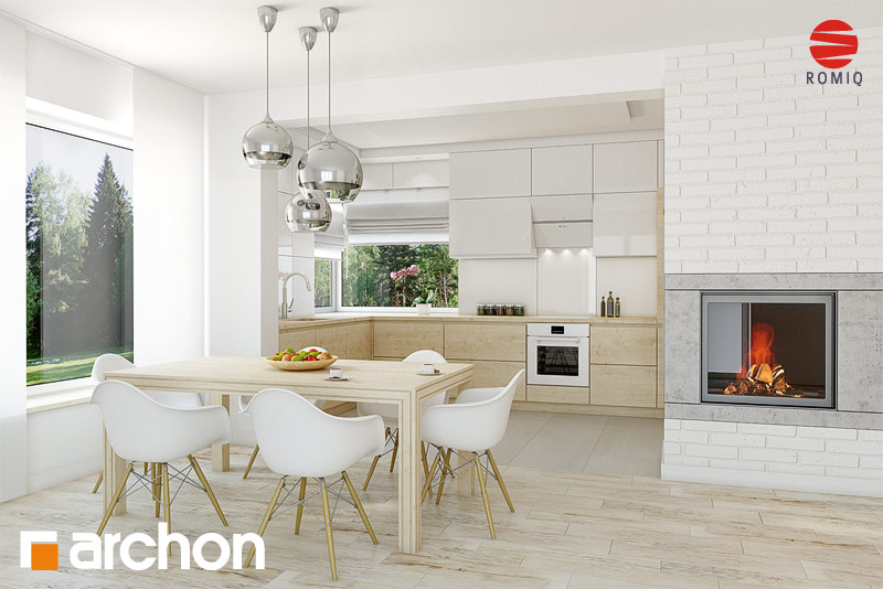 Проект дома ARCHON+ Дом в яблонках (Г2) аранжировка кухни 1 вид 1