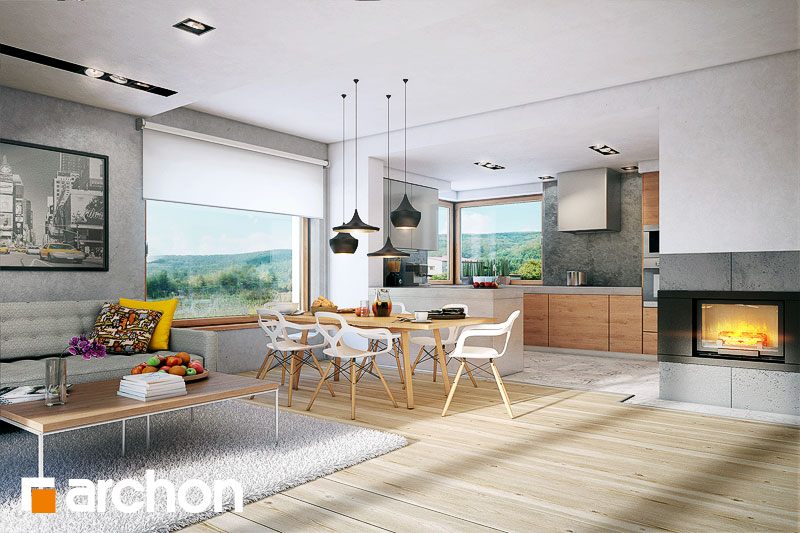 Проект дома ARCHON+ Дом в яблонках (Г2) дневная зона (визуализация 1 вид 2)