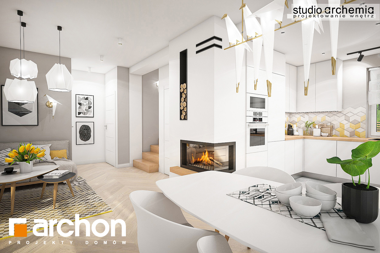 Проект дома ARCHON+ Дом в журавках (Г2) визуализация кухни 2 вид 1