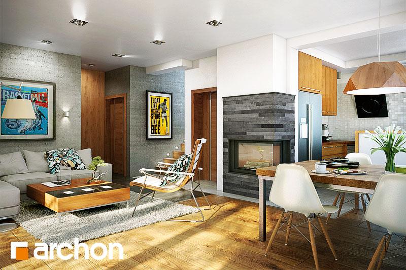 Проект дома ARCHON+ Дом в журавках (П) дневная зона (визуализация 1 вид 1)
