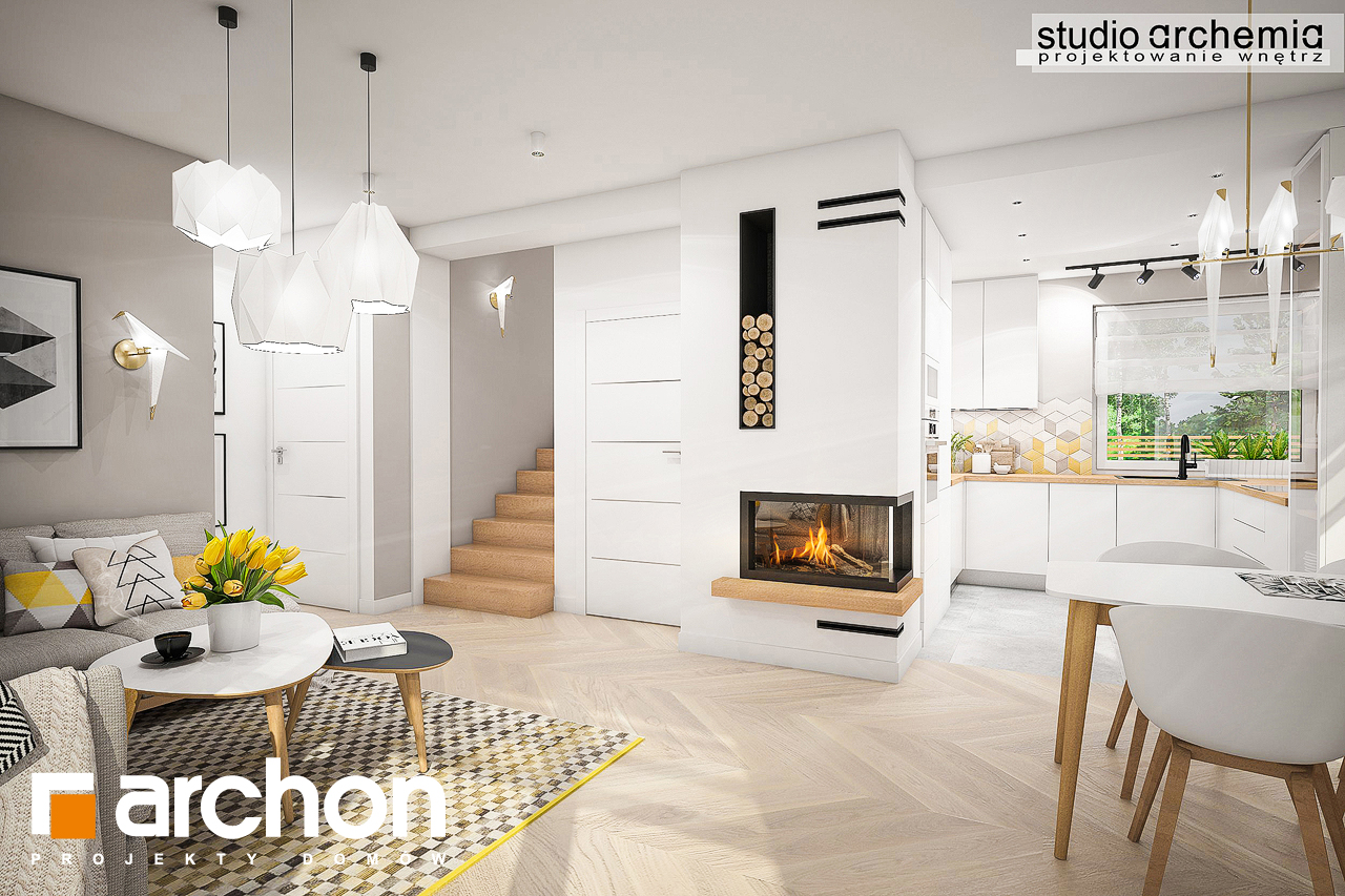 Проект будинку ARCHON+ Будинок в журавках (П) денна зона (візуалізація 3 від 1)