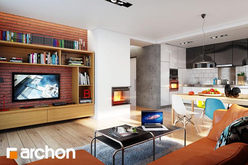 Проект дома ARCHON+ Дом в гейджее (П) дневная зона (визуализация 1 вид 1)