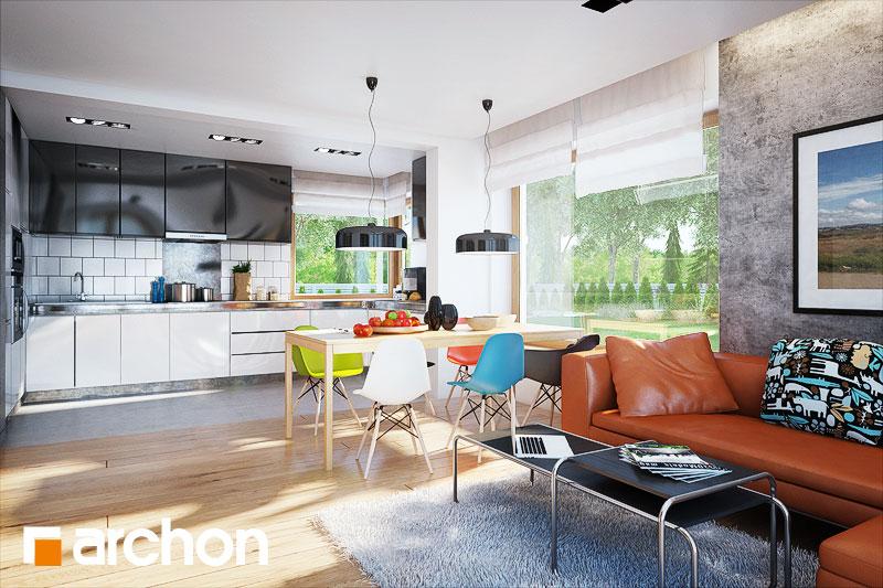 Проект дома ARCHON+ Дом в гейджее (П) дневная зона (визуализация 1 вид 2)
